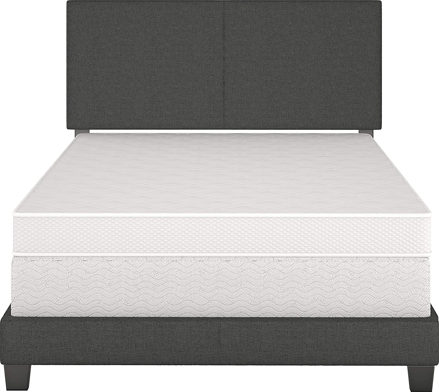 Faux Leather Boyd Sleep Montana Upholstered Platform Bed Frame with Headboard Queen Black