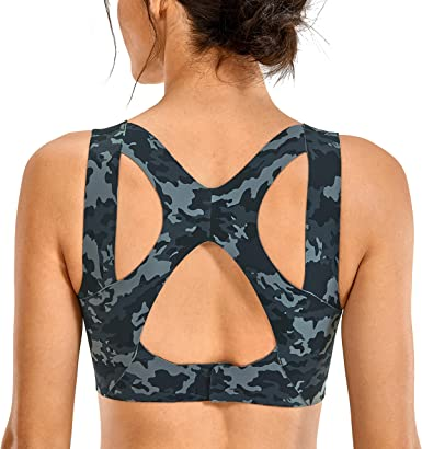 SYROKAN Womens High Impact Seamless Racerback Wirefree Sports Running Bra with Built-in Cups
