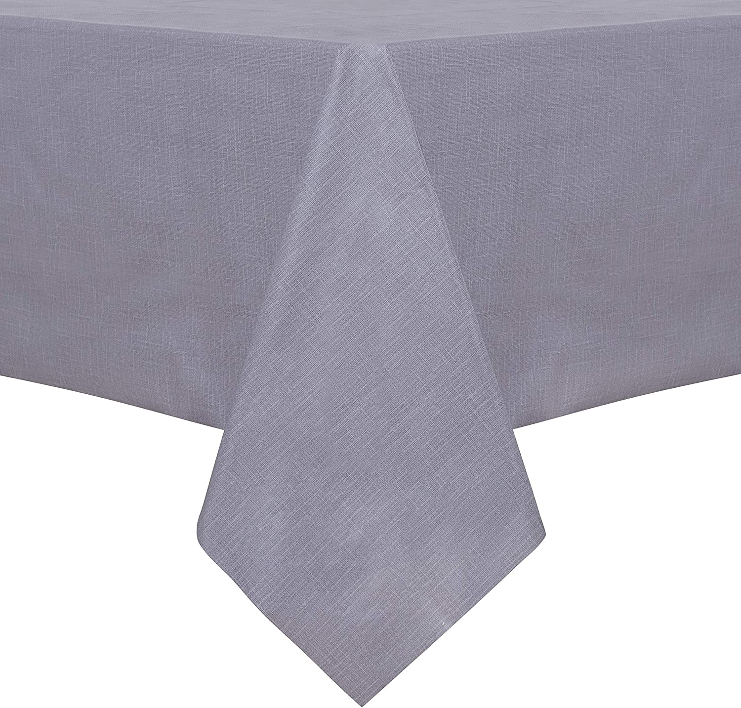 sancua 100% Waterproof Rectangle PVC Tablecloth - 52 x 70 Inch - Oil Proof Spill Proof Vinyl Table Cloth, Wipe Clean Table Cover for Dining Table, Buffet Parties and Camping, Grey