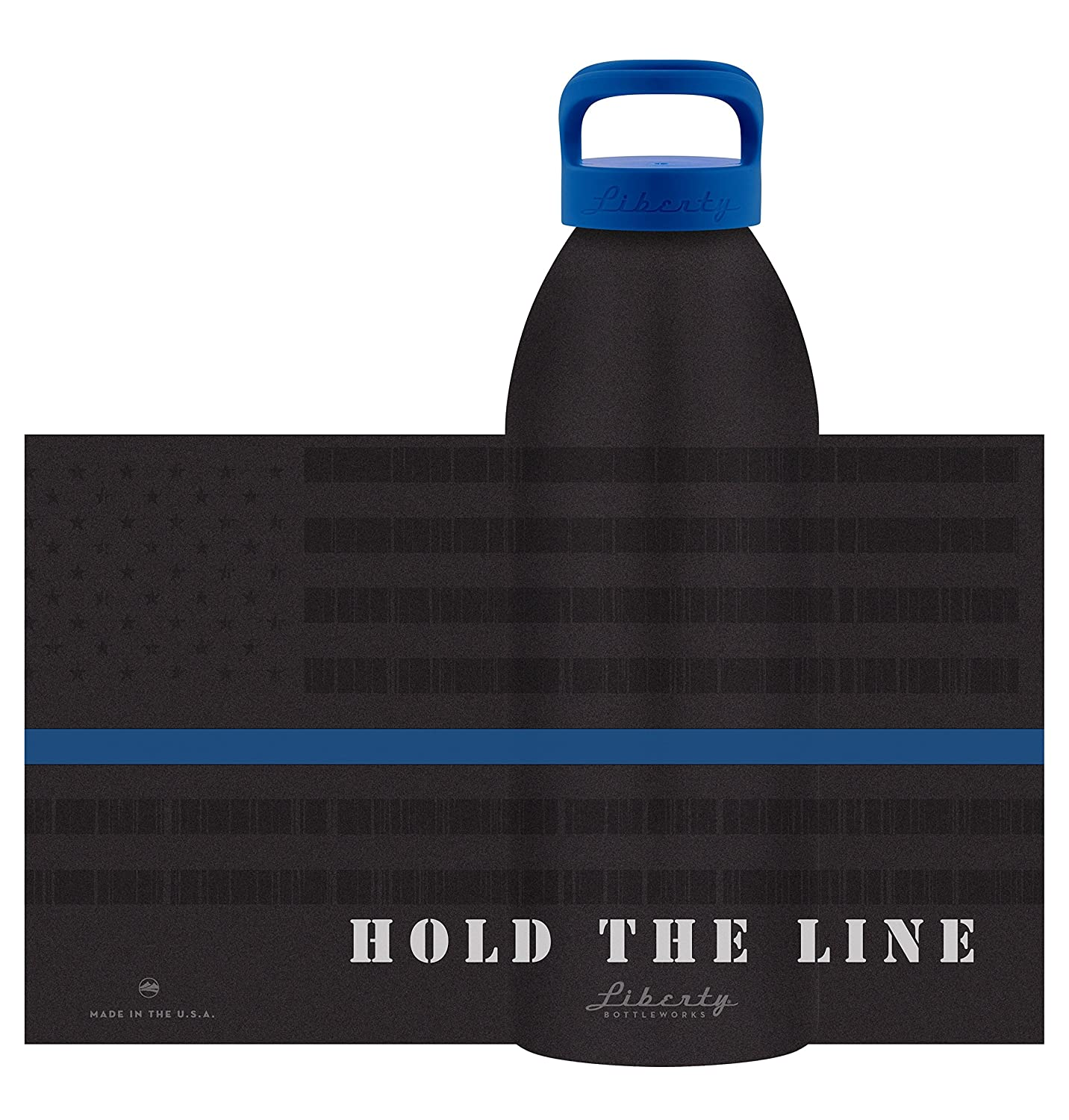 Made in USA Liberty Bottleworks Hold The Line Aluminum Water Bottle Blue Standard Cap