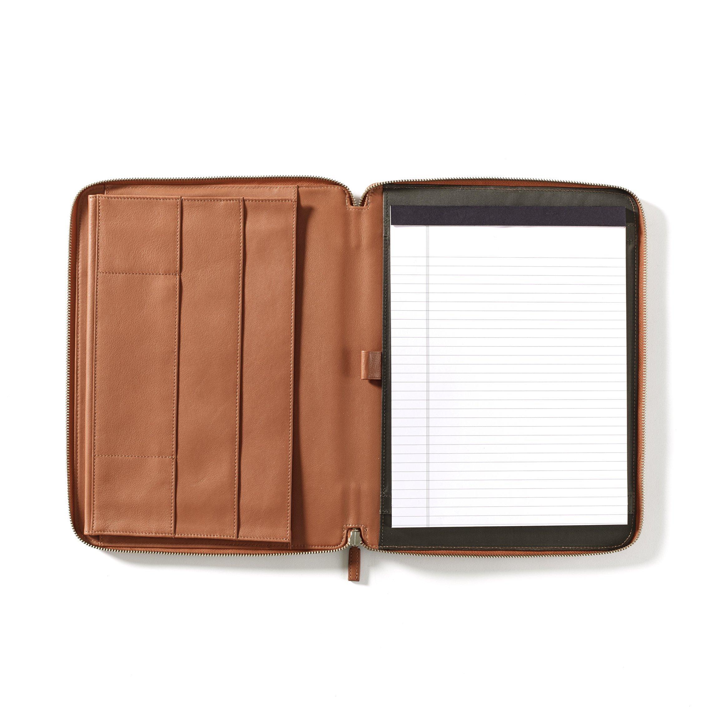 Leatherology Executive Zippered Portfolio with Interior iPad Pocket - Full Grain Leather - Cognac (brown)