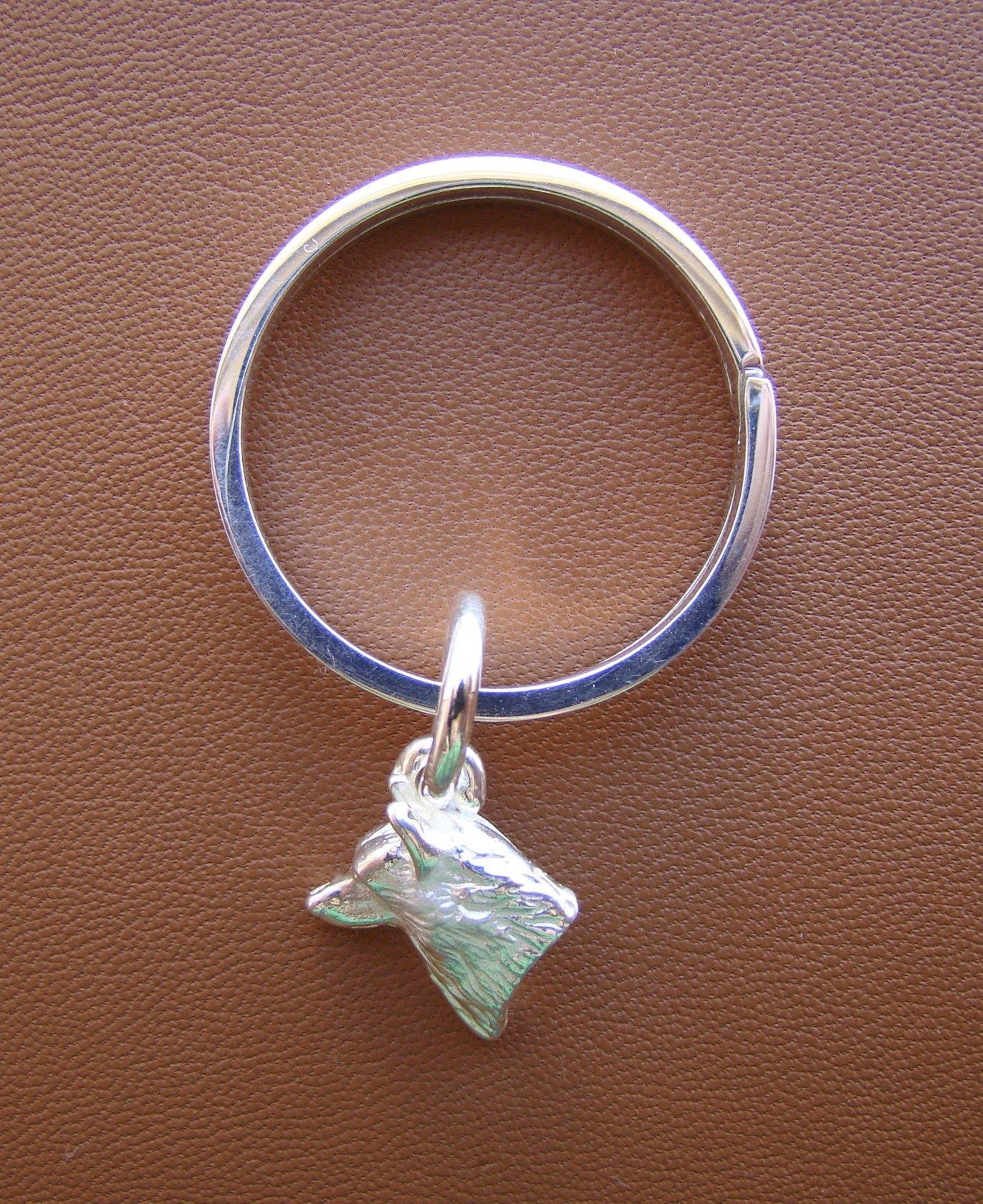 Sterling Silver Siberian Husky Head Study Key Ring