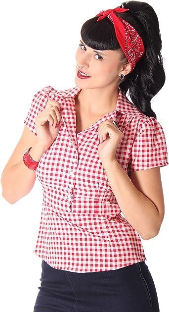 Suga rshock Missy Gingham Rockabilly Años 50 pin up Retro Blusa rojo XL: Amazon.es: Ropa y accesorios