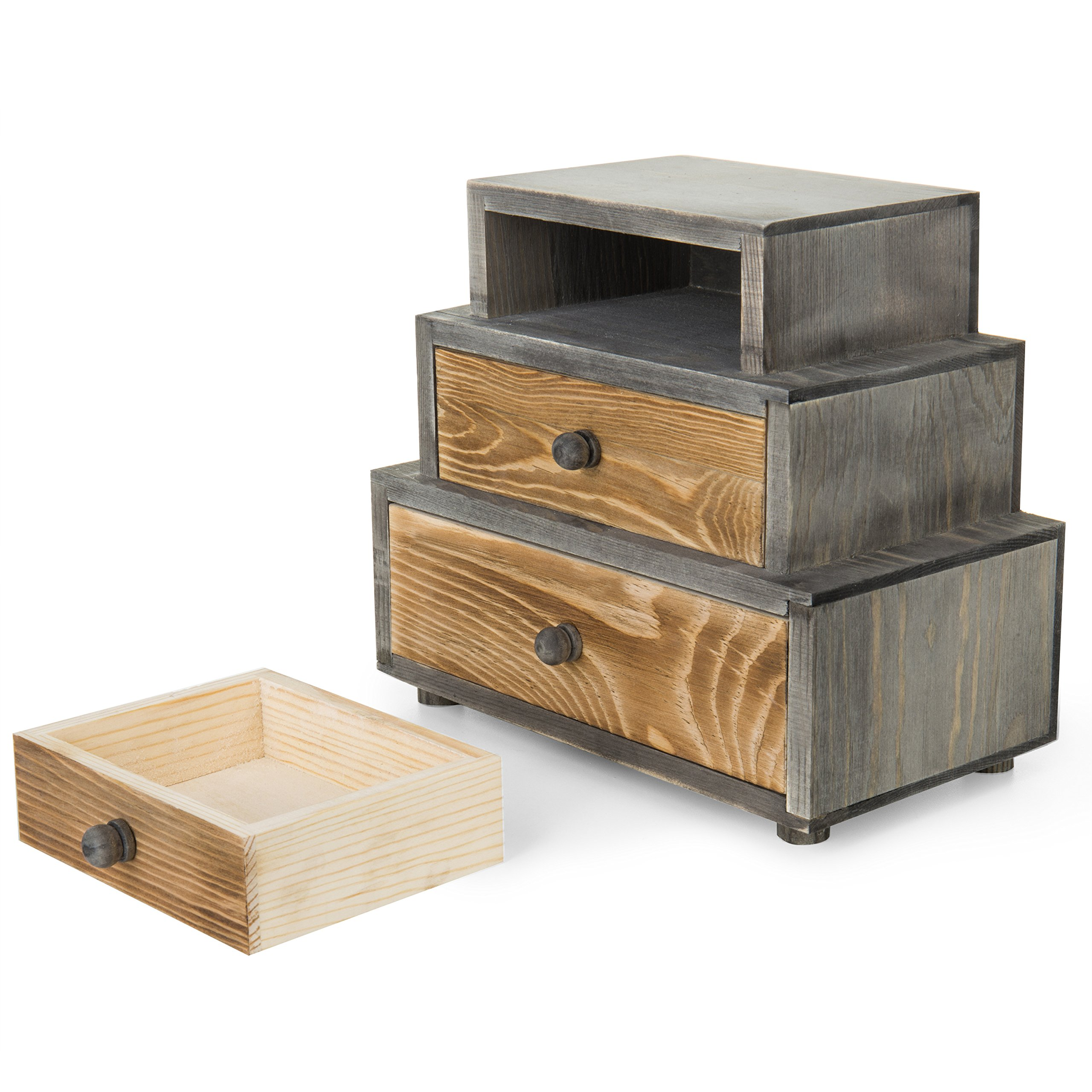 MyGift 3-Drawer Rustic Wood Office Storage Organizer by MyGift (Image #6)