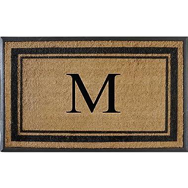 First Impressions Markham Border Double Door, Doormat, Monogrammed M, X-Large, 30 X48