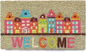 NIKKY HOME 16 x 28 Inches Welcome Buildings Decorative Coir Door Mat Non Slip Front Doormat