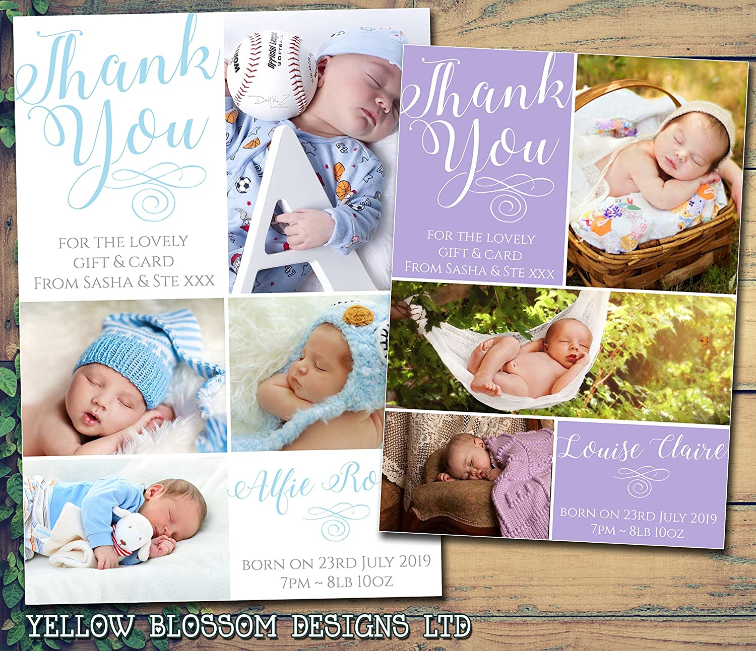 New Baby Thank You Cards with own Photo and Text 40