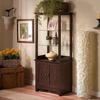 Bush Furniture Buena Vista Tall Library Storage Cabinet With Doors