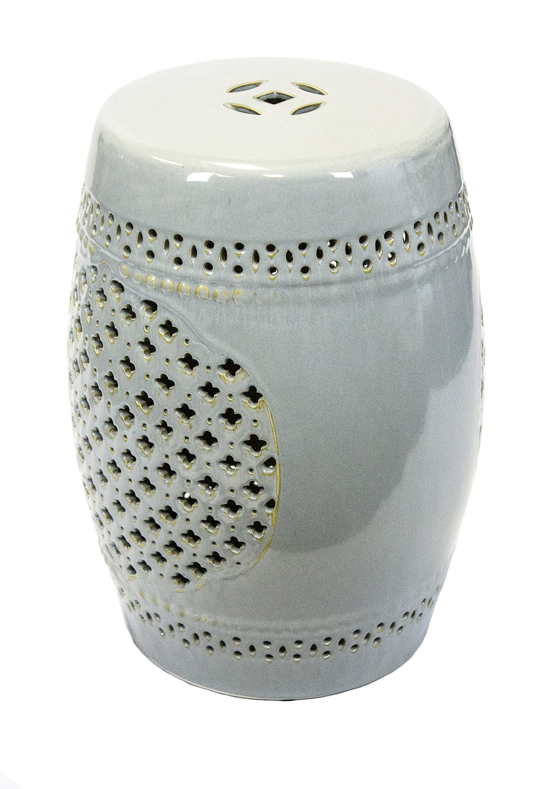 Sagebrook Home FC10449-01 Pierced Garden Stool, White/Gold Ceramic, 12.5 x 12.5 x 17.5 Inches