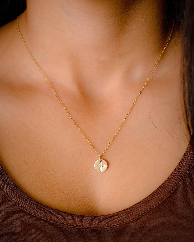 Amazon.com: Tiny Gold Filled Faith Cross Necklace, Small Simple ...