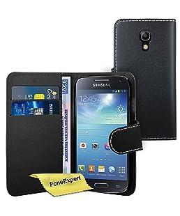FoneExpert® Samsung Galaxy S4 i9500 - Etui Housse Coque en Cuir Portefeuille Wallet Case Cover pour Samsung Galaxy S4 i9500 + Film de Protection d'Ecran (Noir)