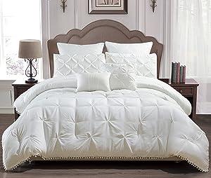 Home Maison Esmalinda Pintucked Comforter Set, Queen, White