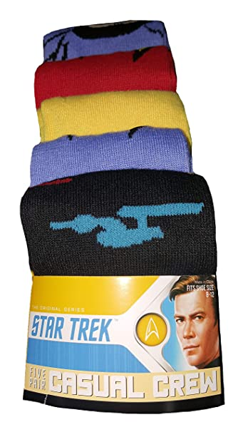 2d59741a064e Star Trek 5 Pair Casual Crew Socks at Amazon Men's Clothing store: