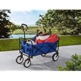 S2 Lifestyle G3GC00023A-L Brazee Collapsible Folding Wagon Cart with Wheels, Blue
