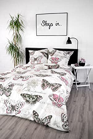 Jilda Tex Bettwäsche 100 Baumwolle Design Vintage Butterfly Rose