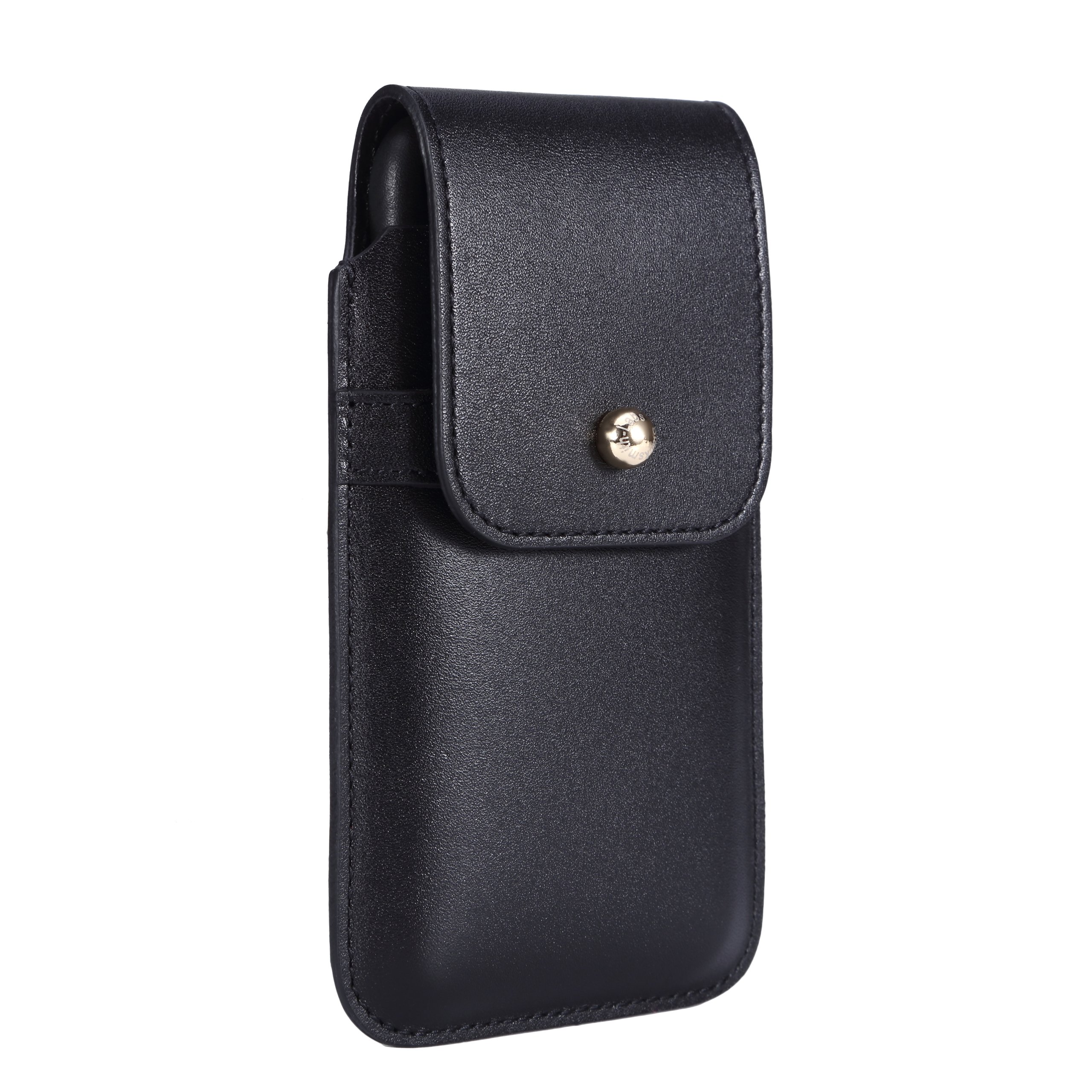 Blacksmith-Labs Barrett 2017 Premium Genuine Leather Swivel Belt Clip Holster for Apple iPhone X for use with no cases or covers - Black Cowhide/Gold Belt Clip