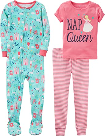 Carters Girls 3-Piece Cotton Snug-fit Pajamas