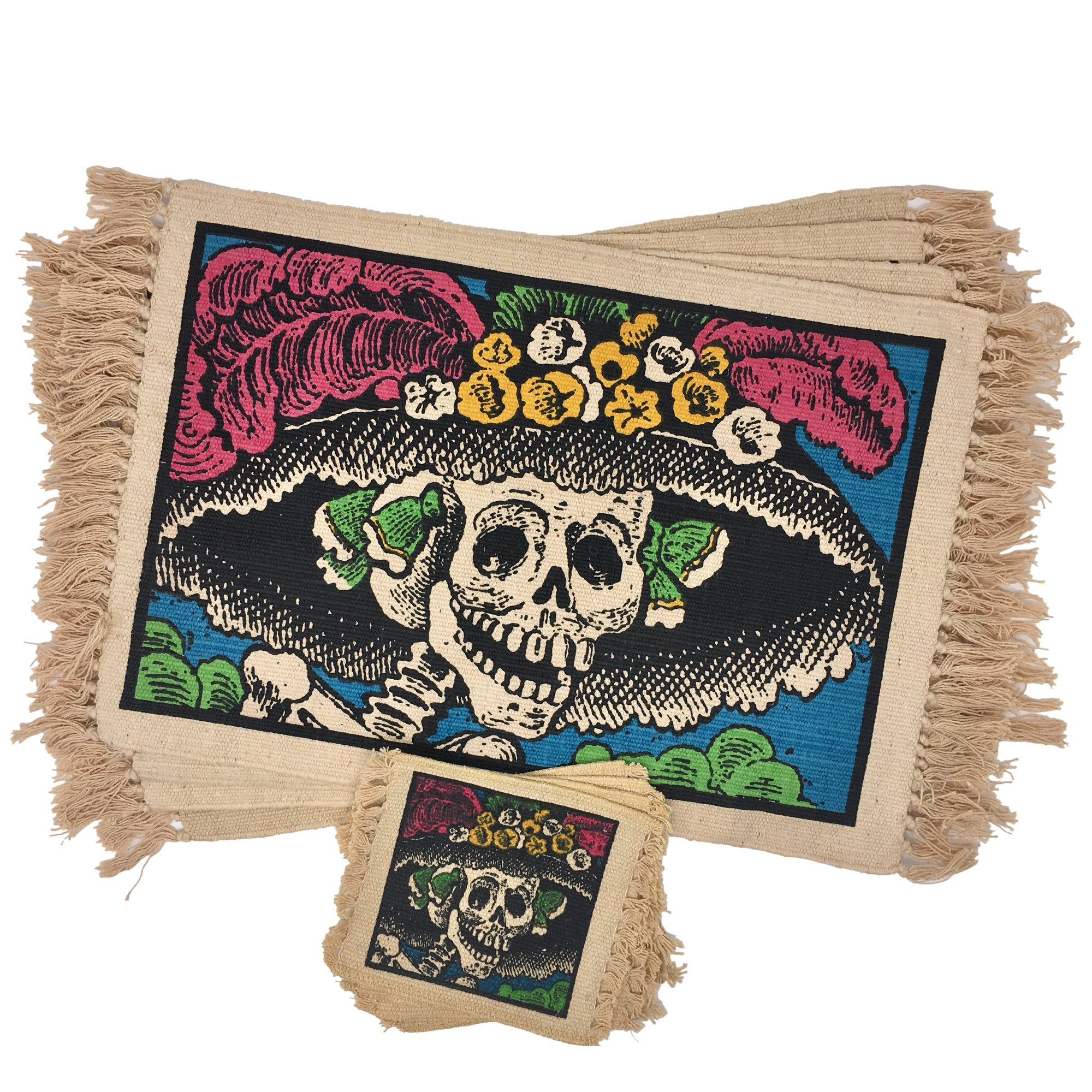 SpiritFest Sugar Skull Placemats & Coasters: Set of 8 Day of the Dead Kitchen & Dining Table Decor Made with 100% Washable Cotton (Catrina)