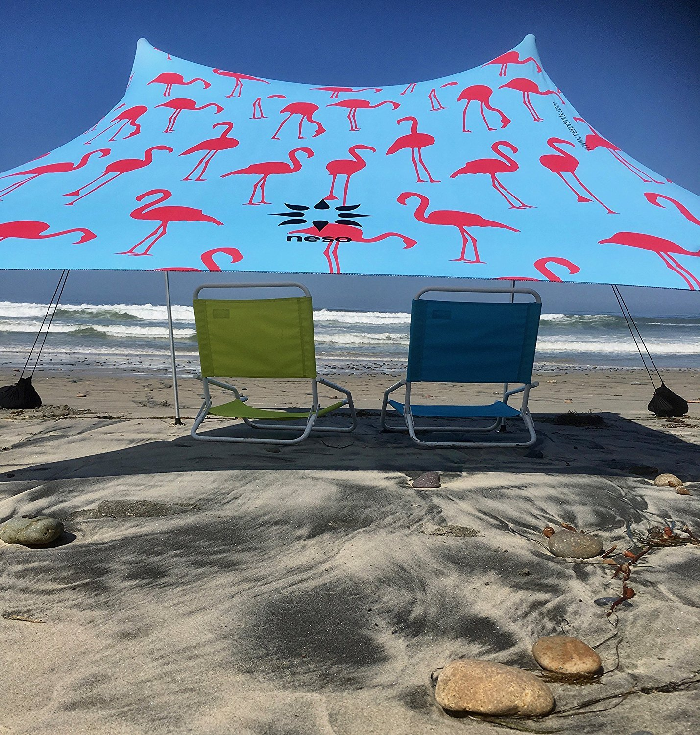 Neso Tents Beach Tent with Sand Anchor, Portable Canopy Sunshade - 7' x 7' - Patented Reinforced Corners(Flamingos) by Neso