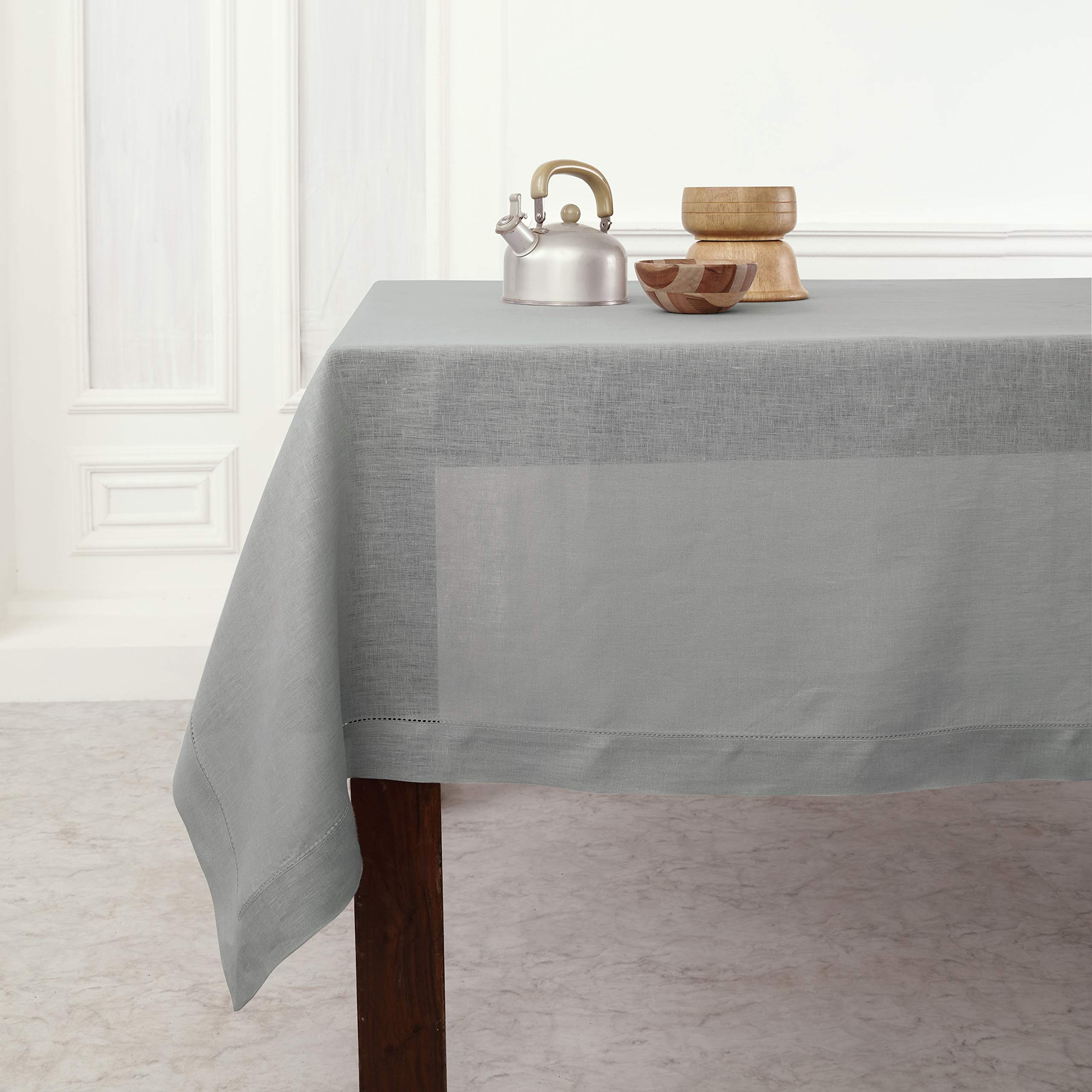 Solino Home Hemstitch Linen Tablecloth - 60 x 120 Inch, 100% Pure Linen Soft Grey Tablecloth for Indoor and Outdoor use