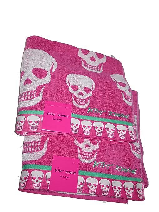 Betsey Johnson Crazy calaveras rosa verde toallas de baño 2 pc Set