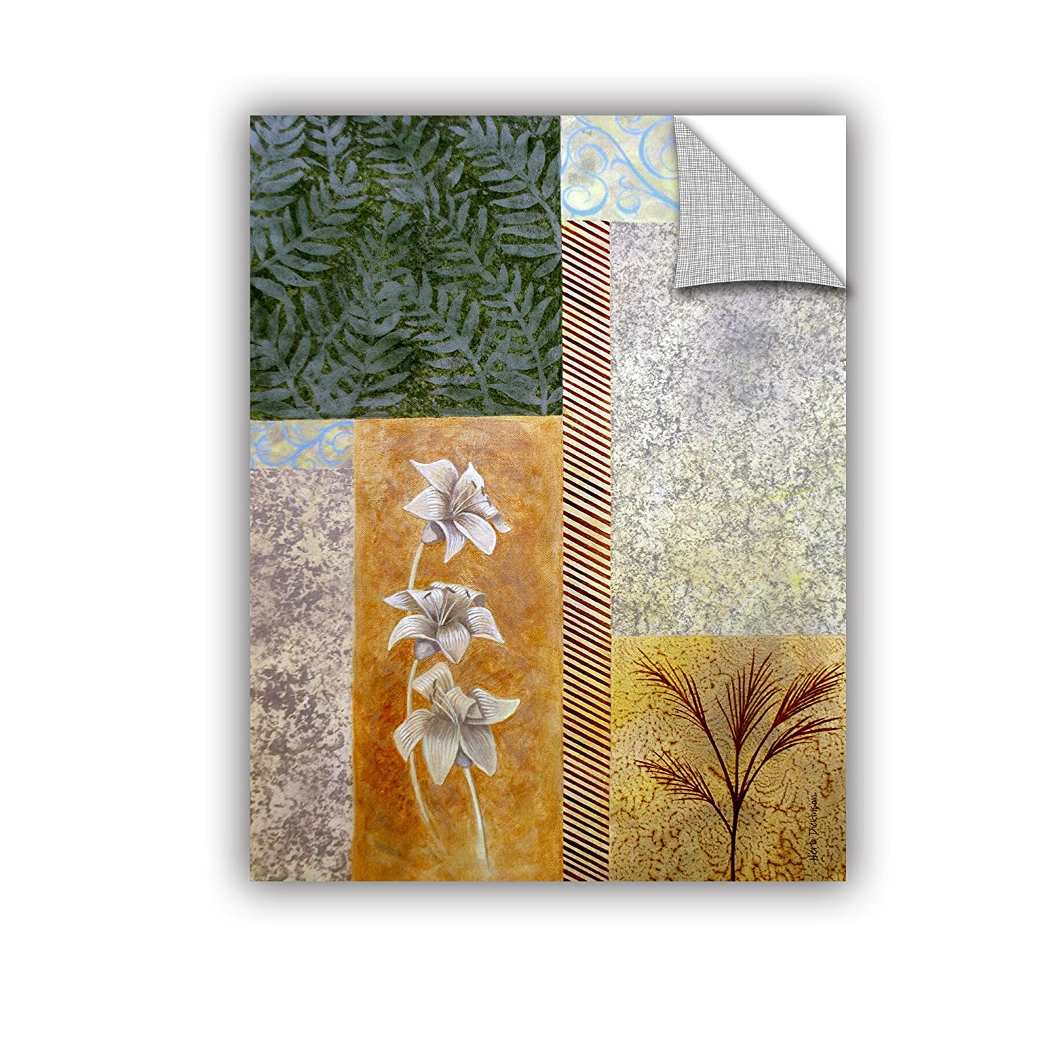 ArtWall Herb Dickinsons A Collage of Patterns with Plants and Rustic Colors Art Appeelz Removable Graphic Wall Art 18 x 24