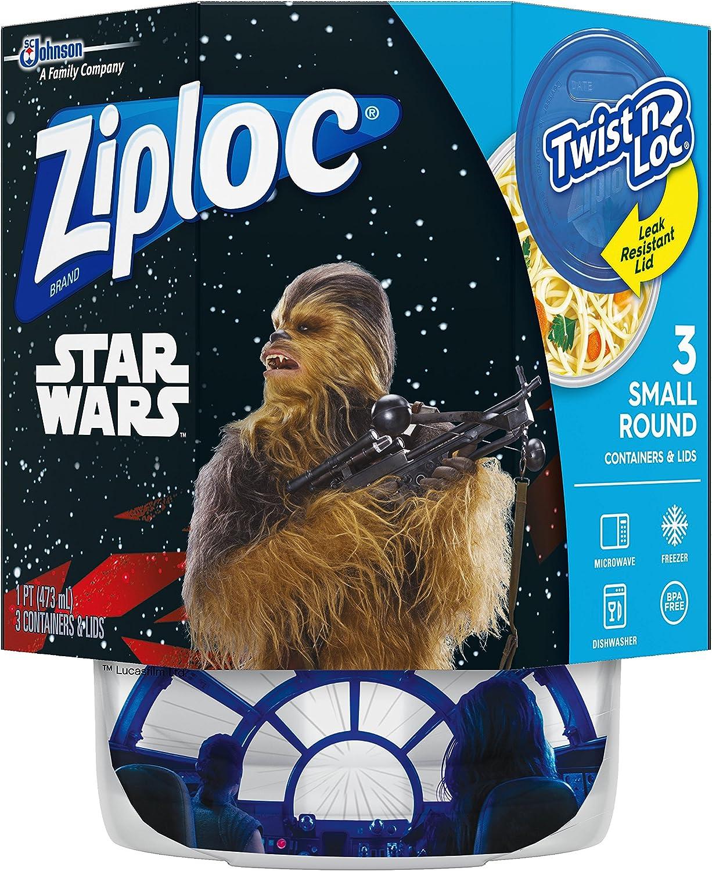 Ziploc Brand Container Twist n' Loc Featuring Star Wars Design, Small, 16oz, 3ct
