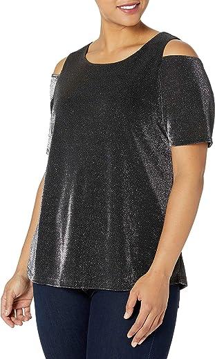 Nine West Women's Plus Size Ity Metallic Cold Shoulder Top