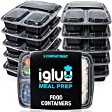 [10 Pack] 3 Compartment BPA-Free Reusable Meal Prep Containers | Plastic Food Storage Trays with Airtight Lids | Microwavable, Freezer and Dishwasher Safe | Stackable Bento Lunch Boxes