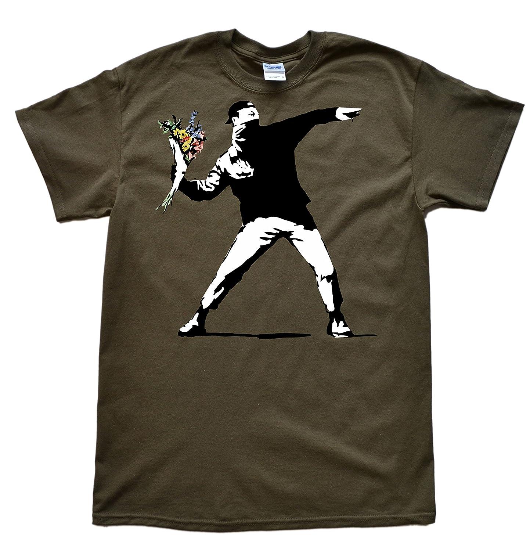 Stooble Men's Flower Thrower Banksy T-Shirt Stooble - 1ClickPrint