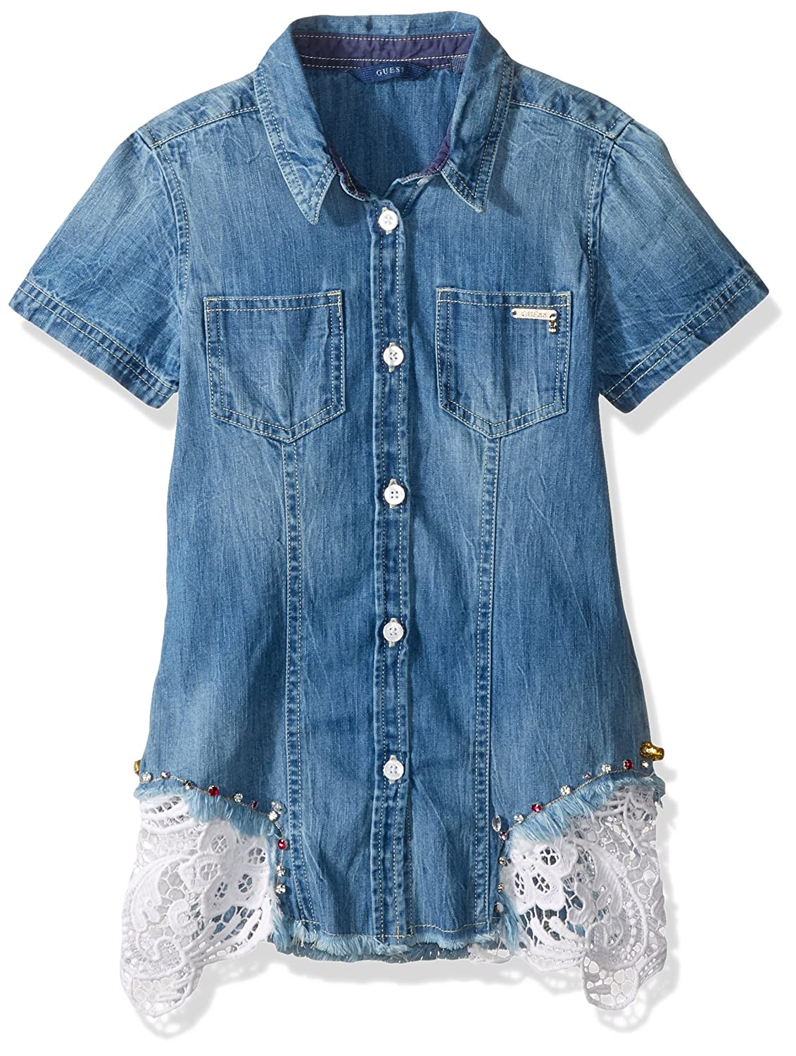 Amazon Guess Girls Big Short Sleeve Denim Shirt Lace Amble