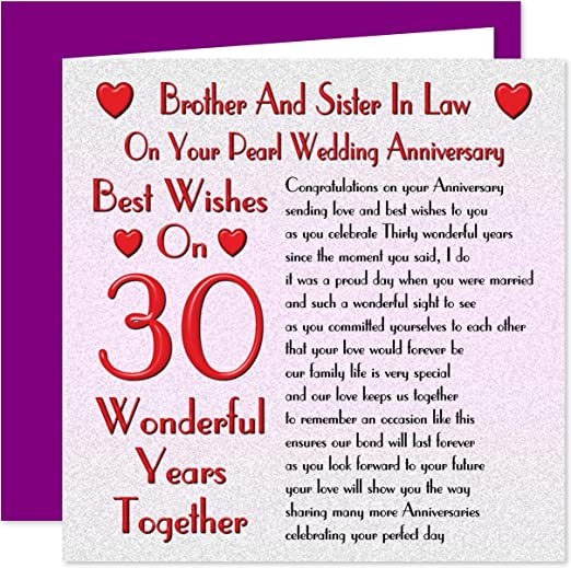Brother Sister In Law 30th Wedding Anniversary Card On Your Pearl Anniversary 30 Years Sentimental Verse Amazon Co Uk Office Products