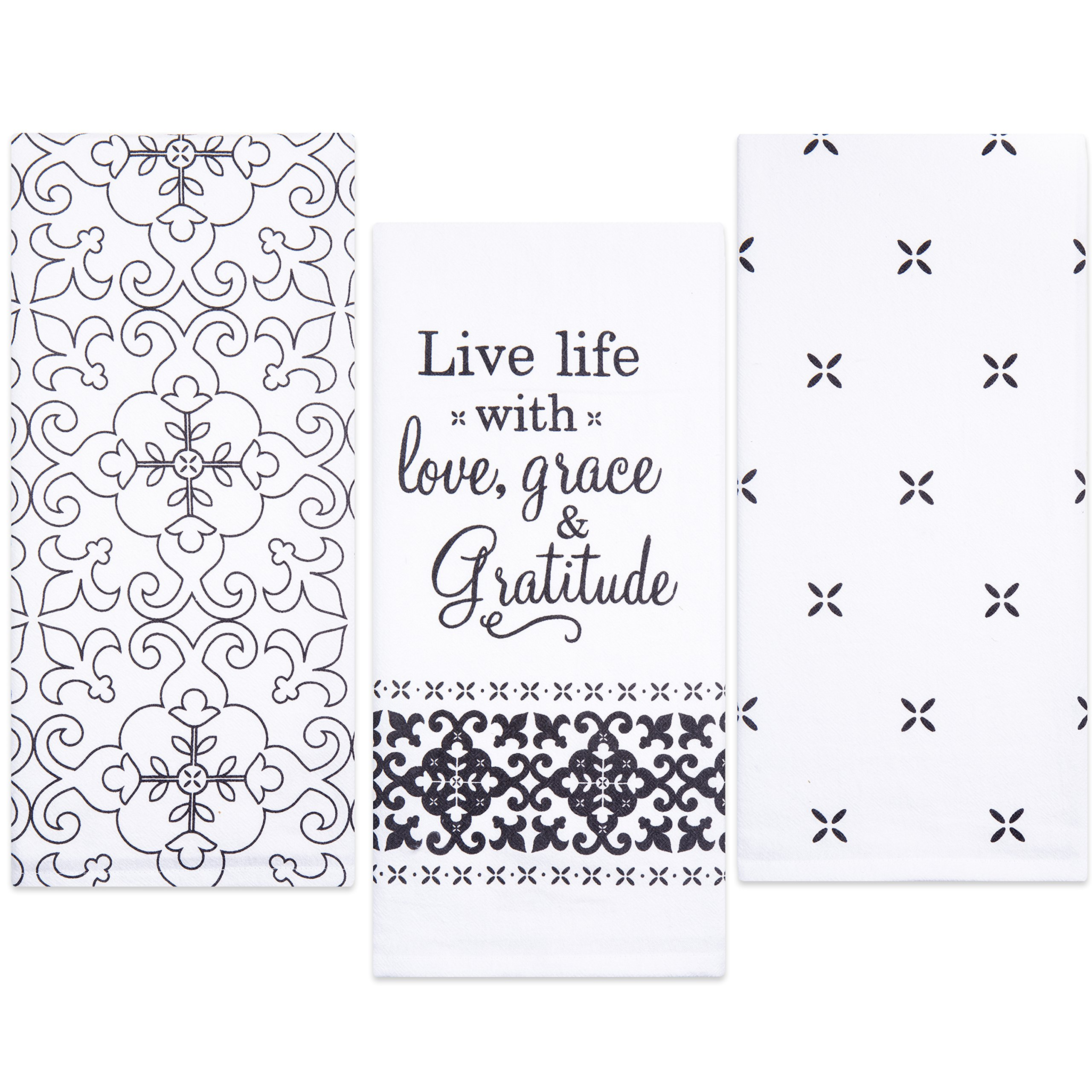 Sticky Toffee Cotton Flour Sack Kitchen Towels, Live Life Gratitude Prints, 3 Pack, 28 in x 29 in