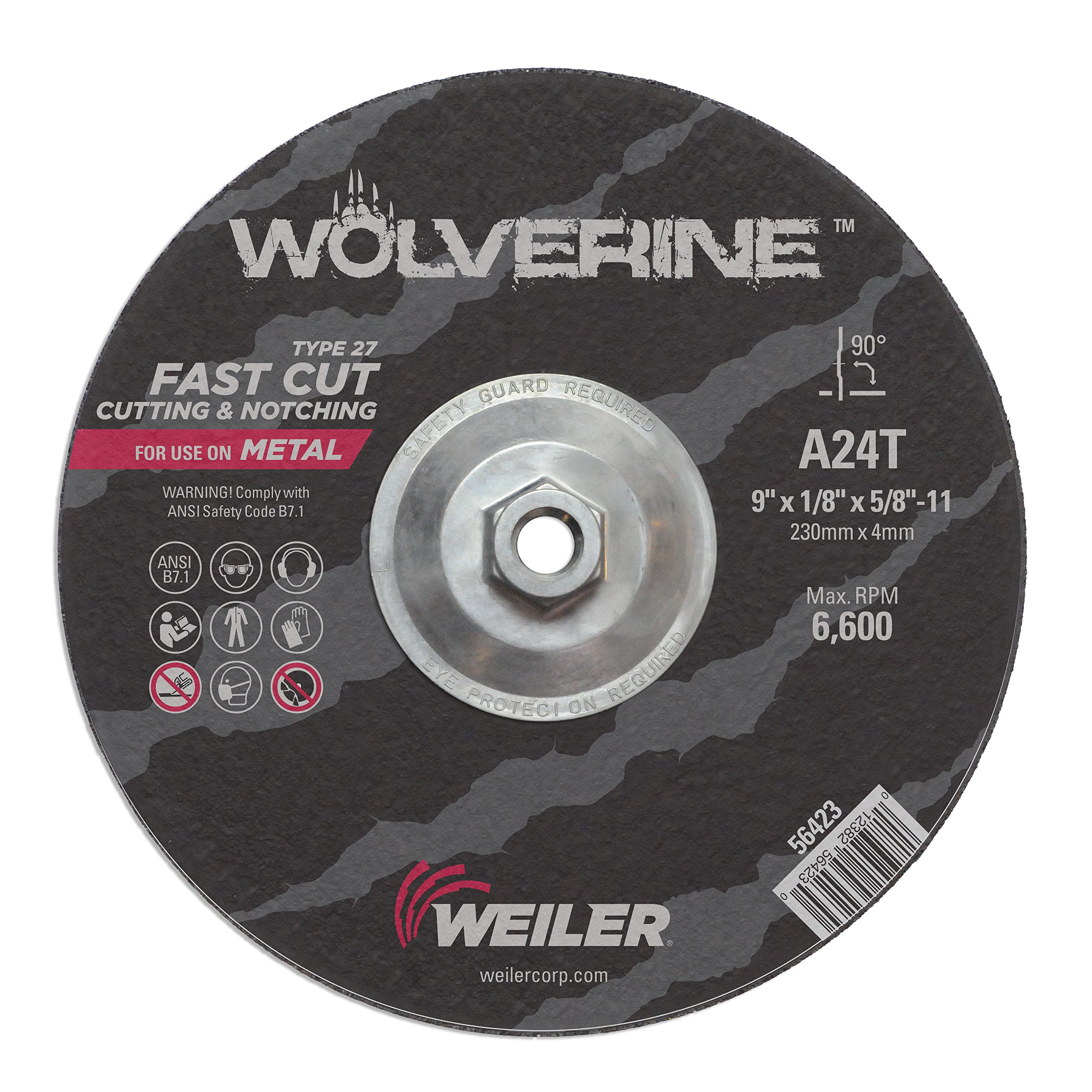 Weiler 56423 9'' x 1/8'' Wolverine Type 27 Cutting Wheel, A24R, 5/8''-11 UNC Nut (Pack of 10)