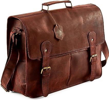 Real Leather Vintage Retro Handmade Laptop Messenger Shoulder Briefcase Satchel Bags