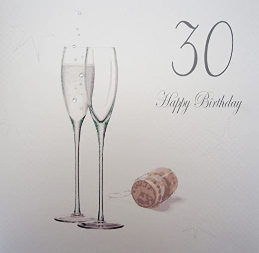 White Cotton Cards Grande 30 Feliz Cumpleaños, Copas de champán ...
