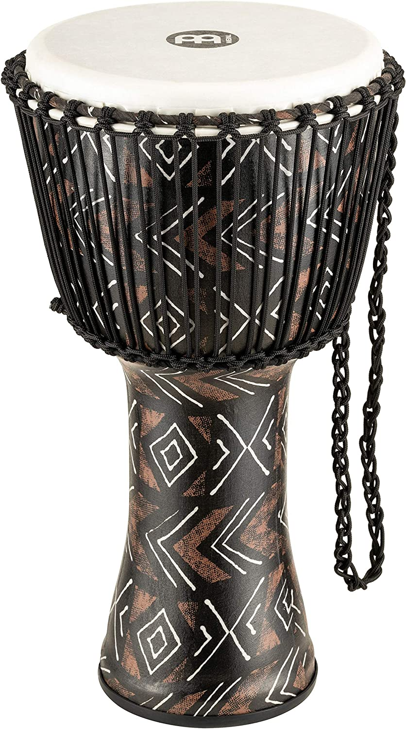 Meinl Percussion Djembe Shell-NOT Made in CHINA-12 Large Size Rope Tuned Synthetic Head PADJ6-L-F 2-Year Warranty