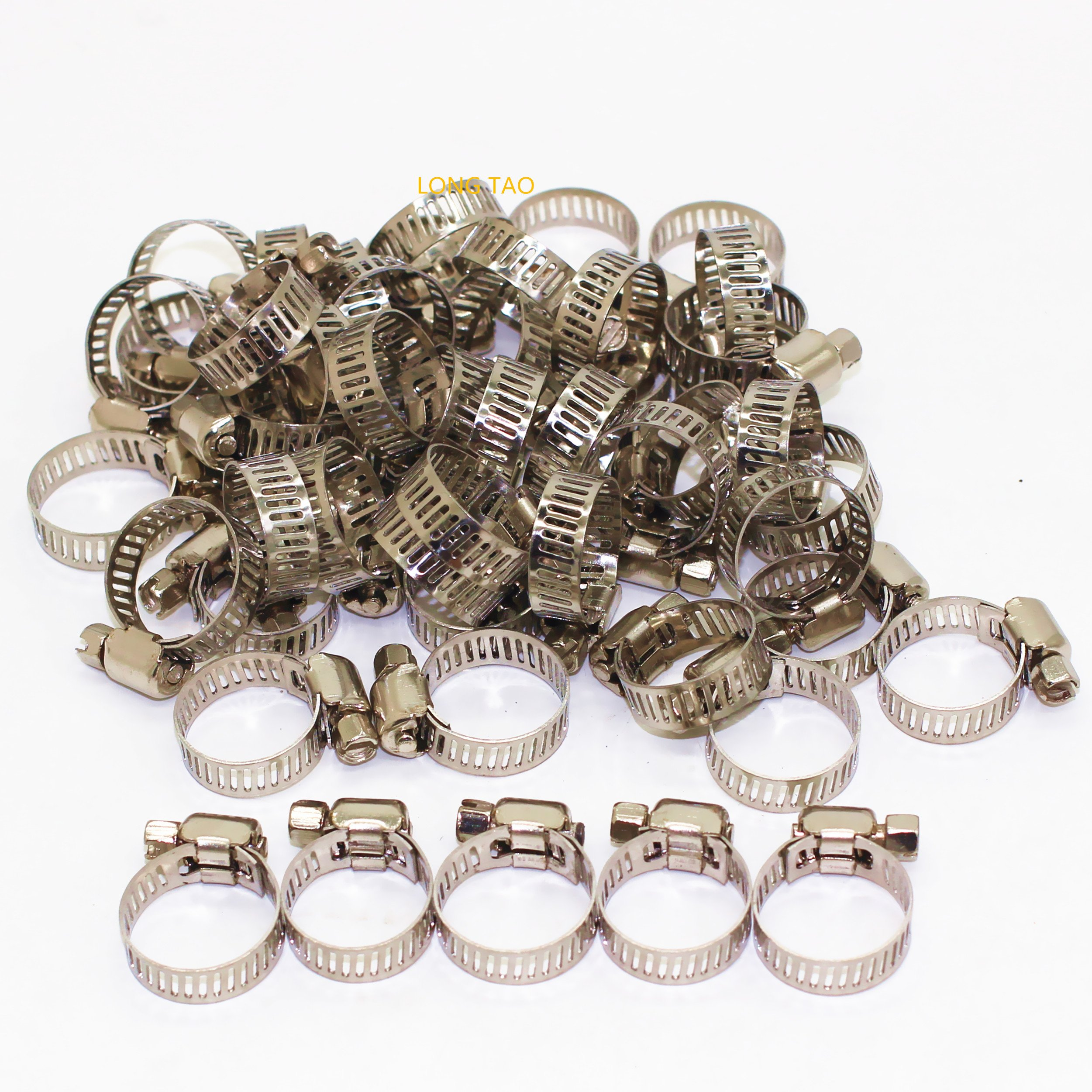 LONG TAO 13mm-19mm Stainless Steel Pipe Hose Clamp Line Pipe Clips Zinc Plated Screw Pack of 50pcs