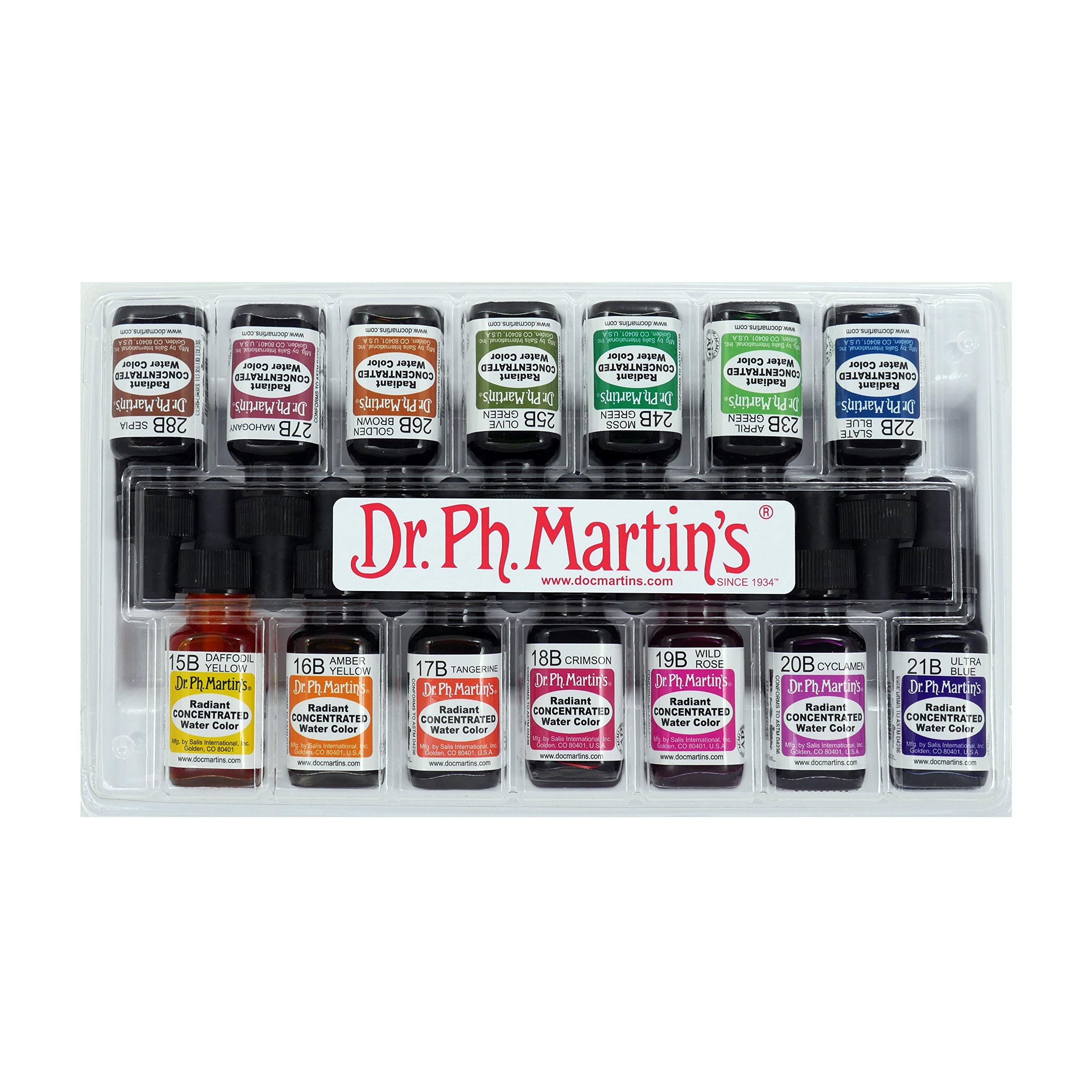 Dr. Ph. Martin's Radiant Concentrated Water Color Bottles, 0.5 oz, Set of 14 (Set B)
