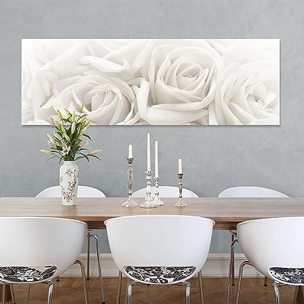 Stampa su tela White Roses Panorama, quadri su tela,quadro su tela ...