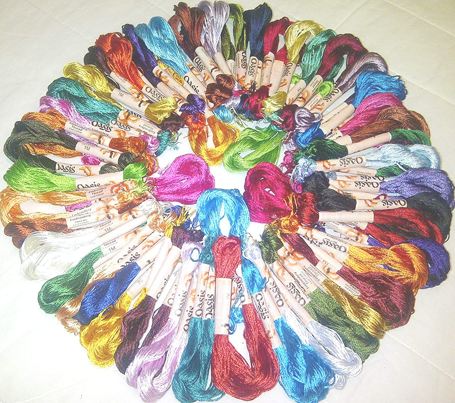 50 Embroidery Silk Threads Skeins 50 different Colours Great Value /& Quality