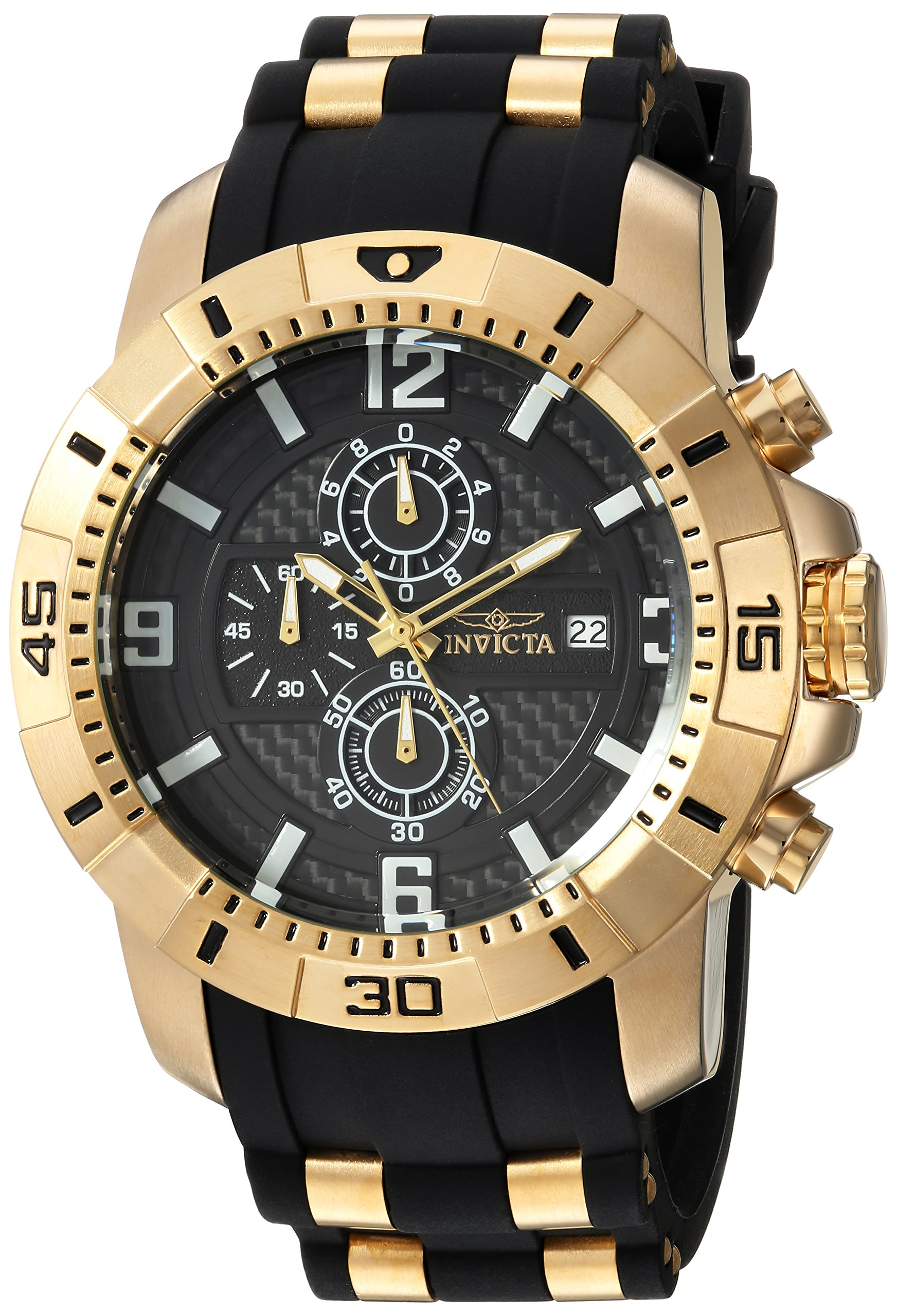 Invicta Men's Pro Diver Quartz Watch with Stainless-Steel Strap, Black, 26 (Model: 24965) by Invicta