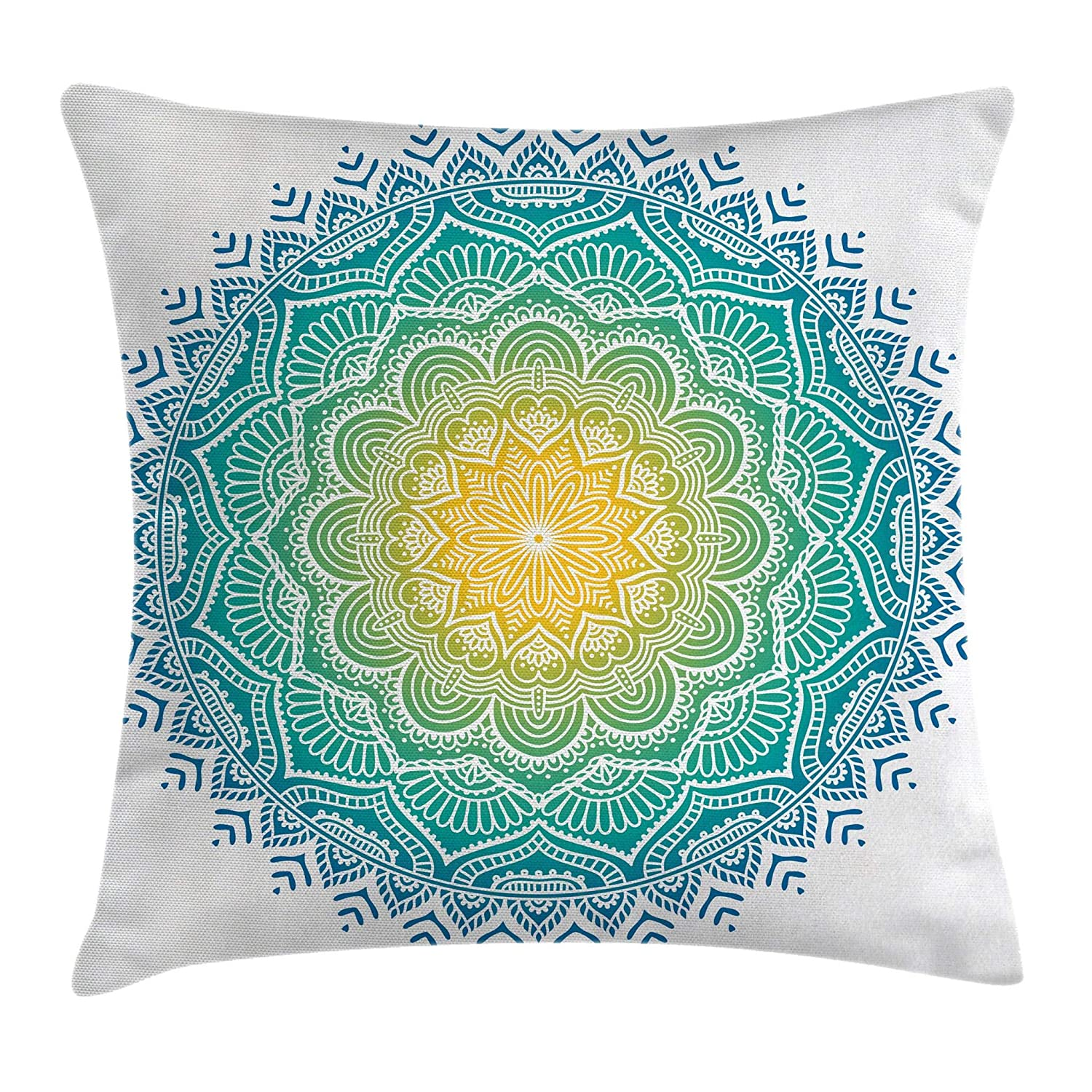 Ambesonne Western Throw Pillow Cushion Cover Bull Skull Illustration with Ornament Geometric Style Blue Decorative Square Accent Pillow Case 18 X 18
