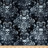 Timeless Treasures Skulls Damask Charcoal Fabric By The Yard