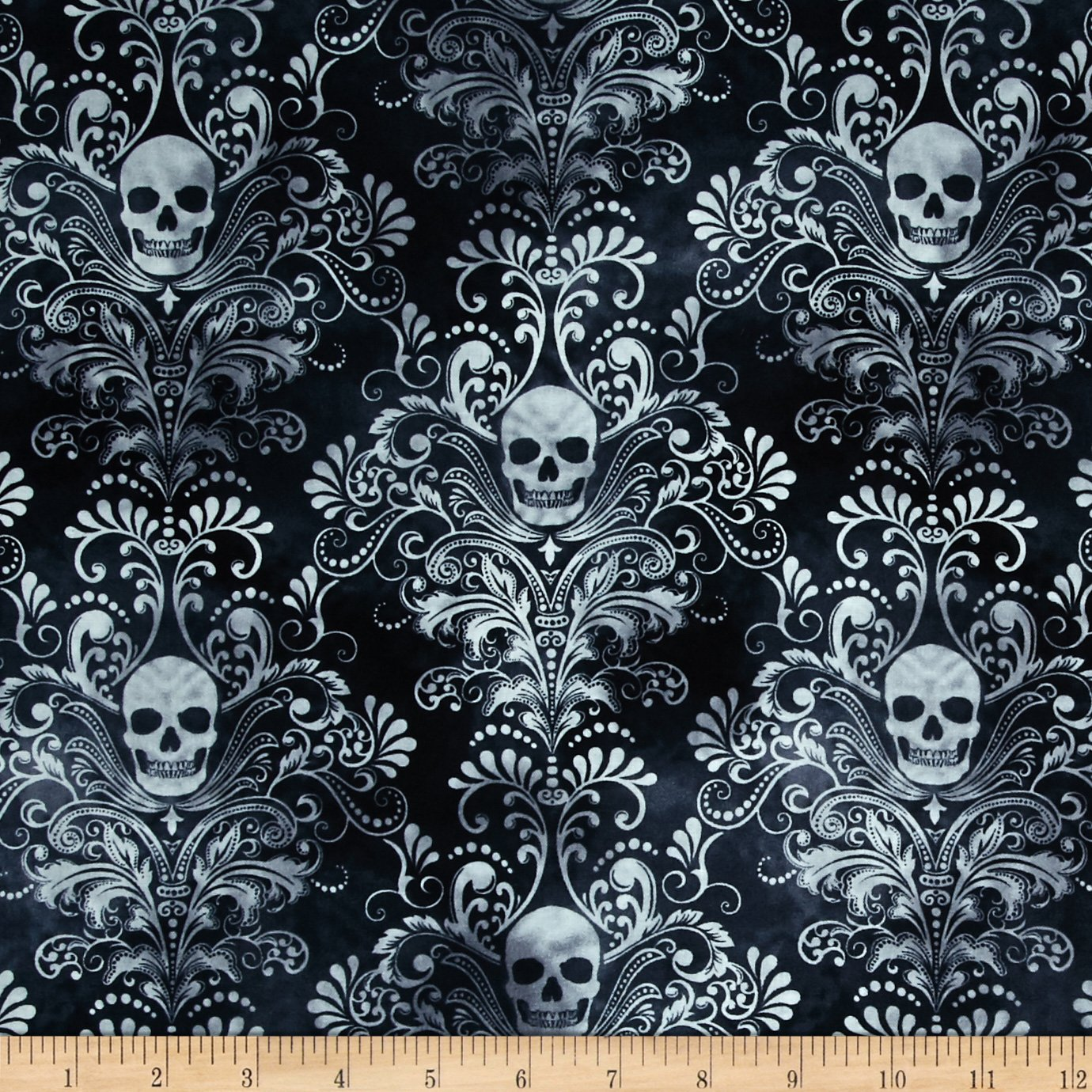 Timeless Treasures Skulls Damask Charcoal Fabric by The Yard, Charcoal 0420528