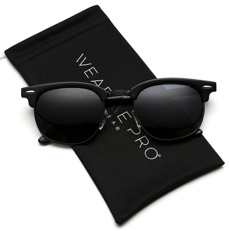 060b3e7b33 Polarized Clubmaster Classic Half Frame Semi-Rimless Rimmed Sunglasses (Full  Black  Amazon.in  Clothing   Accessories