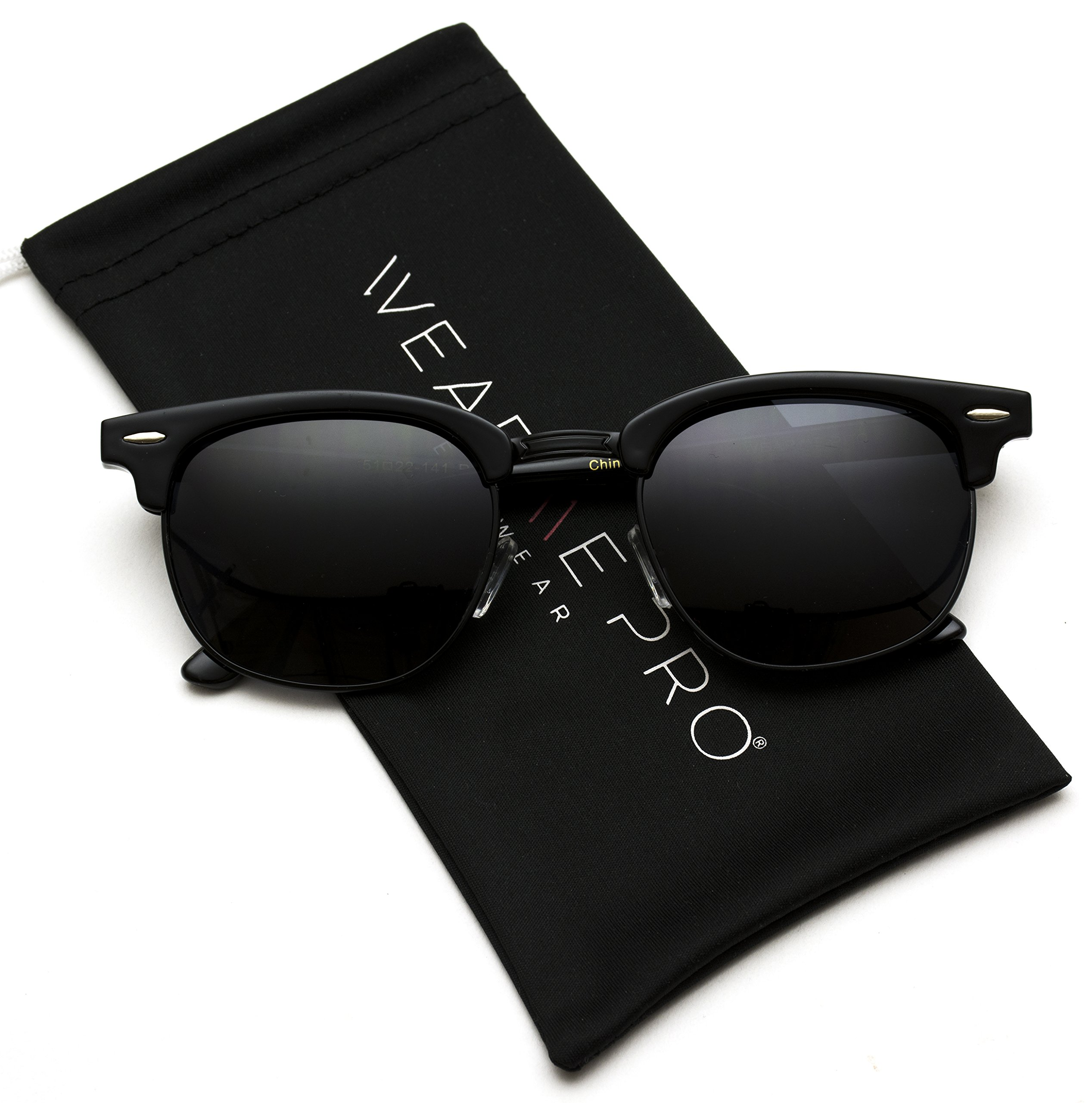 Polarized Clubmaster Classic Half Frame Semi-Rimless Rimmed Sunglasses (Full Black, 51) by WearMe Pro