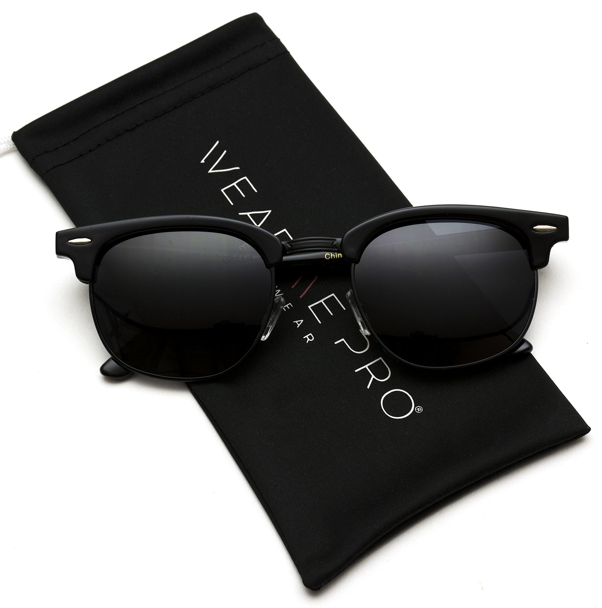 Polarized Clubmaster Classic Half Frame Semi-Rimless Rimmed Sunglasses (Full Black, 51)