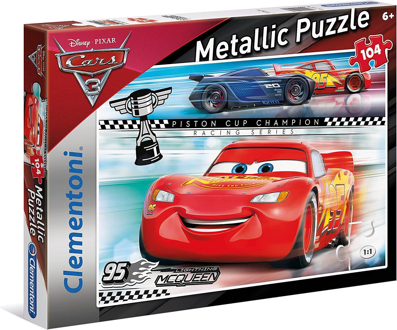 Clementoni 27074 Metallic Puzzle Cars 3 104 Pezzi Disney