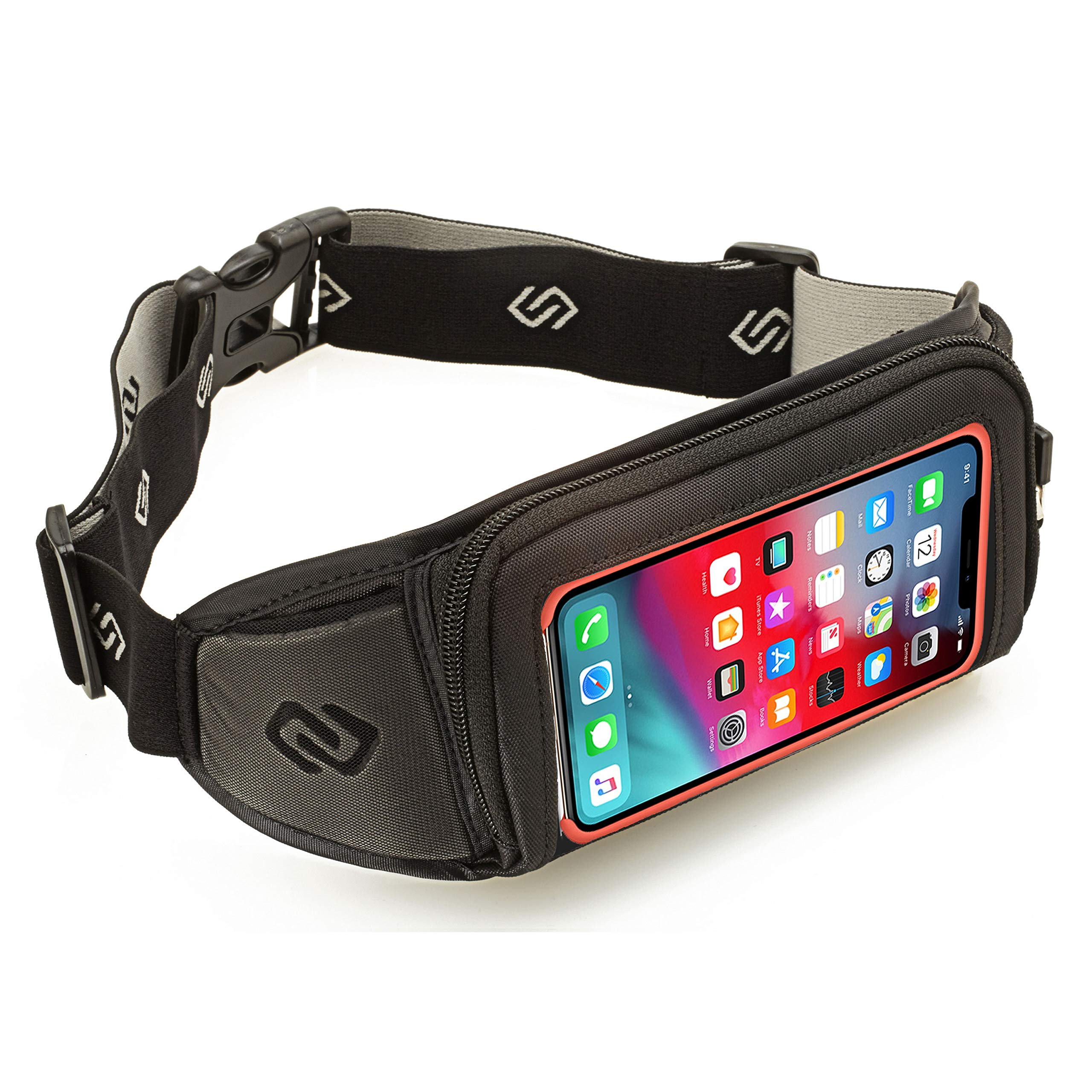 Sporteer Kinetic K1 Running Belt Waist Pack - Compatible with iPhone 12 Pro Max, 11 Pro Max, Xs, XR, X, 8/7 Plus, iPhone 11, Galaxy S20 Plus, 10 Plus, Note 10+, 9, S9+, Pixel 4 XL, 3 XL, LG, Moto - Fits Cases